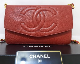 9009c1c2e60d 100% Auth CHANEL Quilted CC Timeless Caviar Leather Gold Chain WOC Crossbody  Bag W 7.5