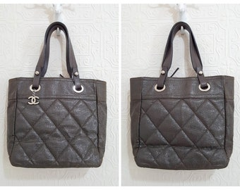 6b0422d741fb Auth CHANEL Silver CC Logo Paris Biarritz Quilted Tote Shoulder Bag Coated  Leather Brownish Gray H 10.5