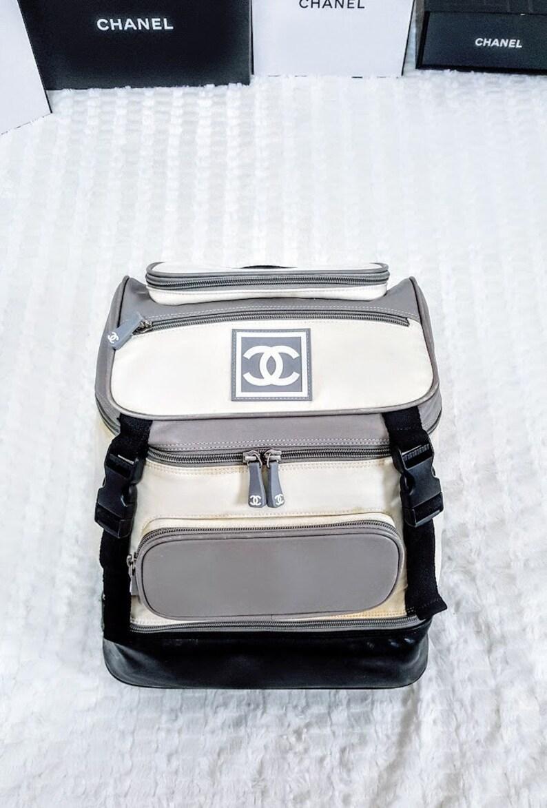 7c78722b707f Auth CHANEL CC Sports Line Rucksack Nylon Lambskin Leather | Etsy