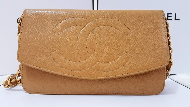 d13de21740bd6f Auth Chanel CC Timeless Mustard Yellow Caviar Skin Leather | Etsy