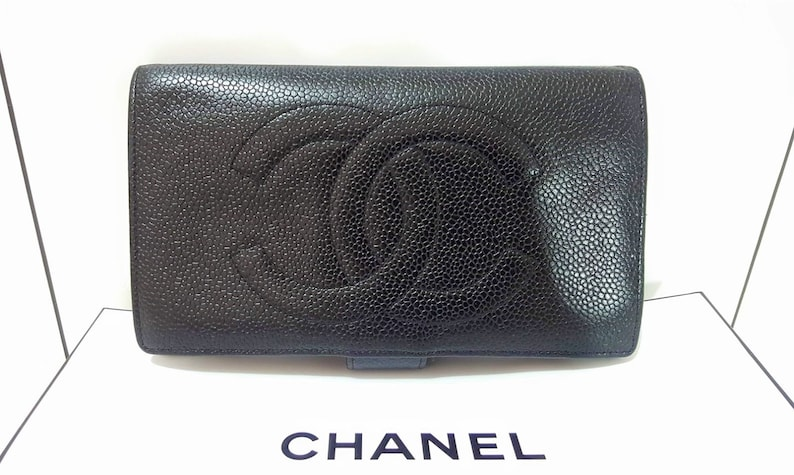 e13cbb5c9879 Auth CHANEL Quilted Timeless CC Logo Caviar Long Wallet   Etsy