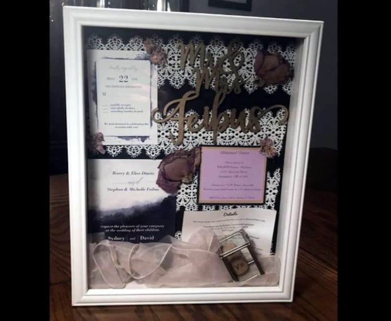 Custom Wedding Shadow Box Totally Customized Beautiful Wedding Gift Wedding Keepsake Wedding Memorabilia Free Shipping