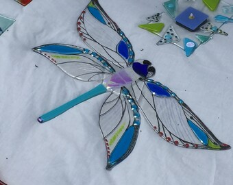 Giant dragonfly, (70cm) fused glass