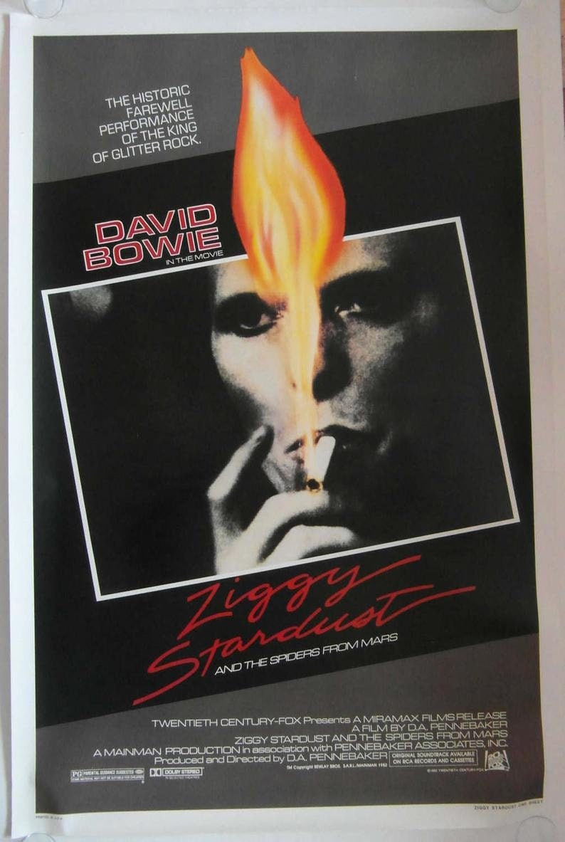 Original 1973 David Bowie U.S.A Poster for the Film /'Ziggy Stardust and the Spiders from Mars/'
