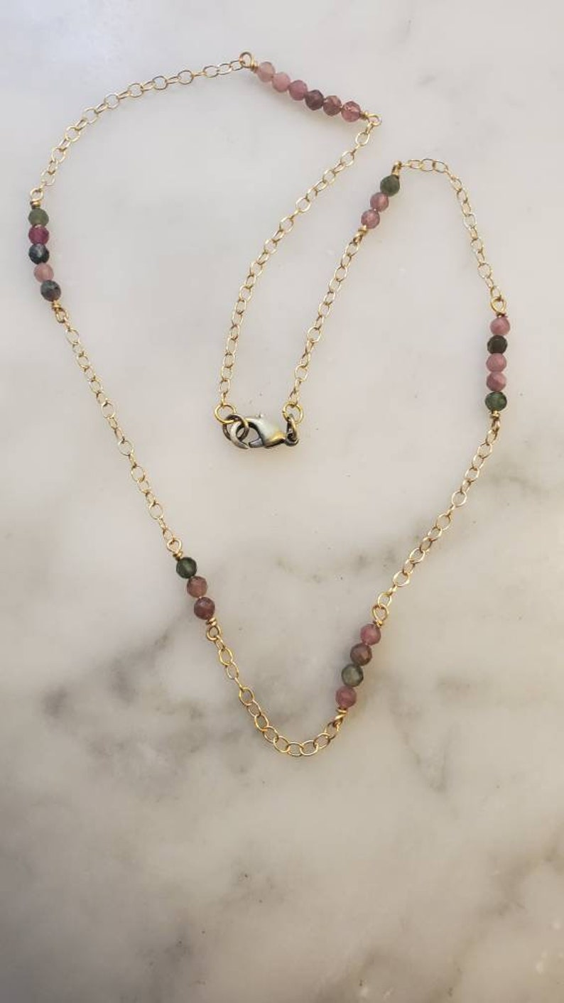 Faceted tourmaline and 14k gold filled chain necklace
