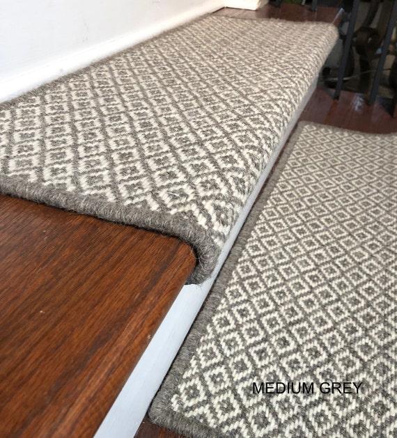 Padded Wool Carpet Stair Treads BRECKENRIDGE Grey Medium