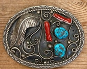 Vintage Native American Sterling Silver, Turquoise Coral 1180