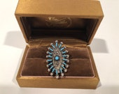 Native American Southwestern Sterling Silver Needlepoint Ring 26