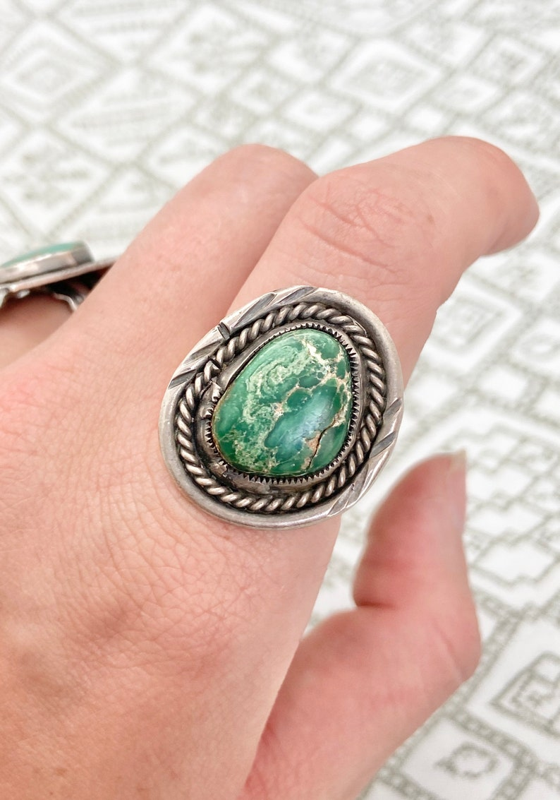 Size 7~ Vintage 1960/'s Native American Southwestern Sterling Silver /& Turquoise Ring #65