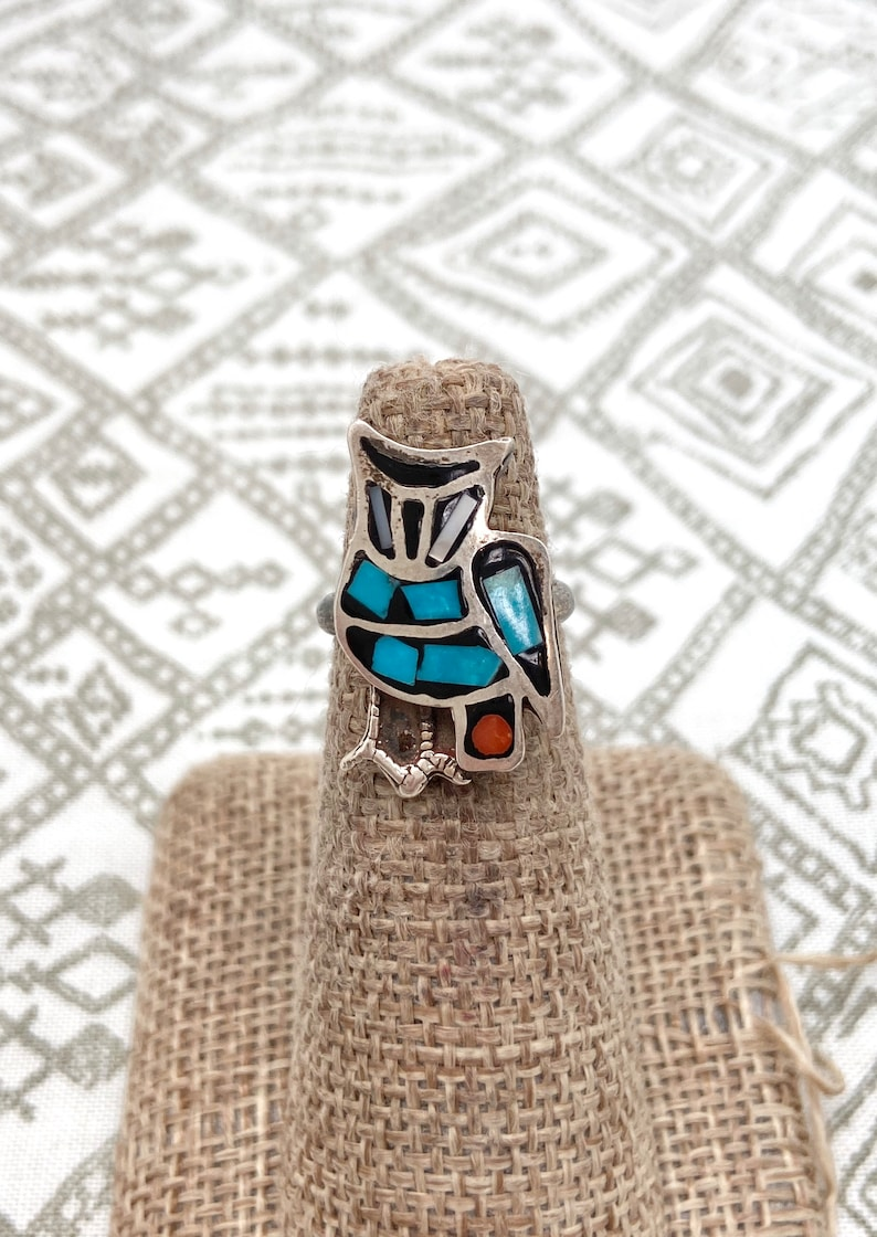 Size 3.5~ Vintage 1960/'s qNative American Southwestern Sterling Silver Turquoise owl ring #121