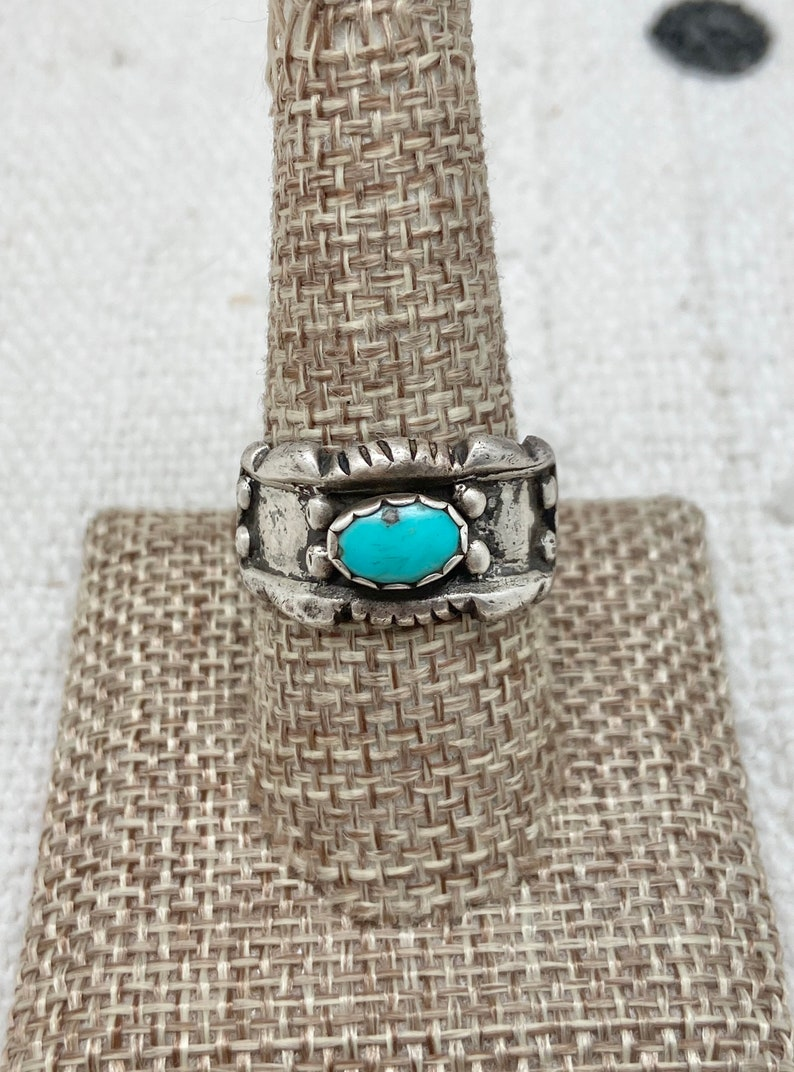 Size 9 ~ Vintage Native American Navajo Sterling Silver /& Turquoise Old Pawn Band Band #3377