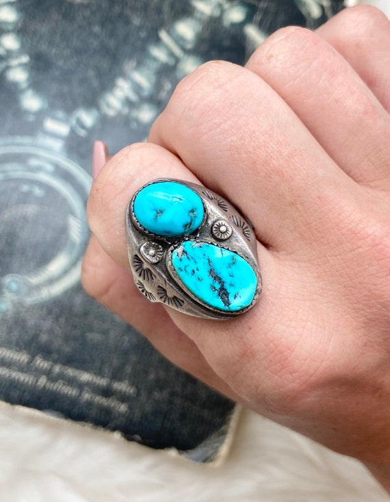 Navajo   A-73 Men\u2019s Native American old pawn in size 12  US with two turquoise stones and tribal symbol heavy sterling silver ring
