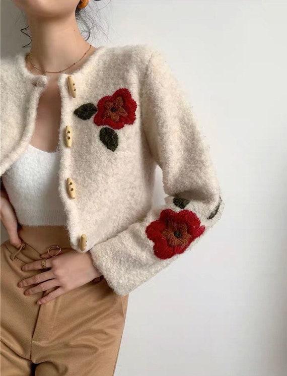 Red Floral Embroidery Crop Top Jacket Streetwear|