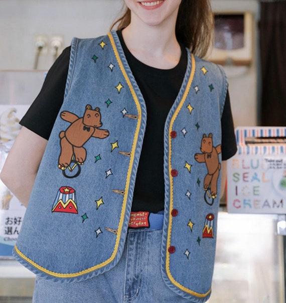 Women Kawaii Bear Cartoon Denim Jean Vest Coat Wom