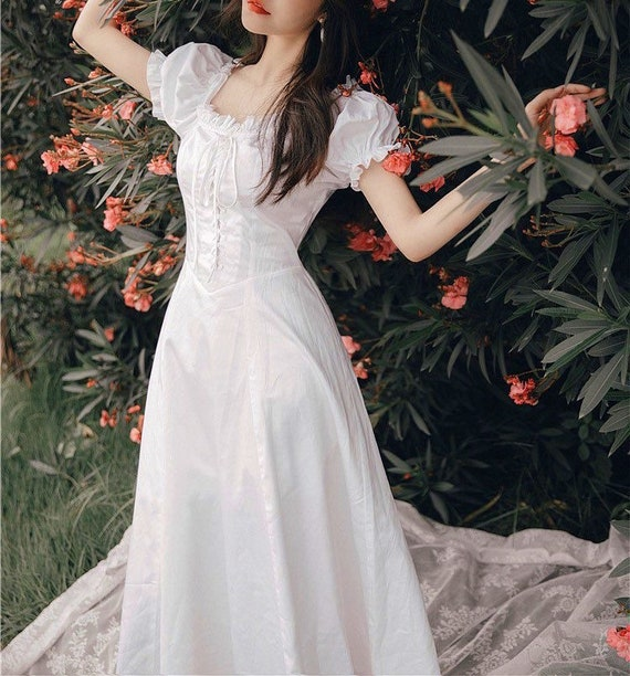 Creamy White Bustier Fairy Dress|  French Style Vi