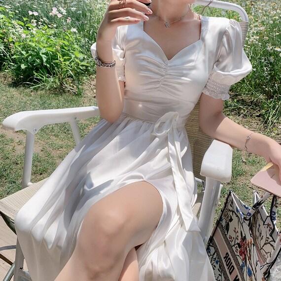 Elegant Bustier White Fairy Dress| Milkmaid Slip D