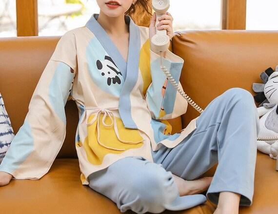 100% Cotton Japanese Kimono Pajama Set for Women … - image 4