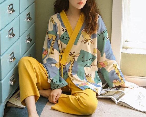 100% Cotton Japanese Kimono Pajama Set for Women … - image 9