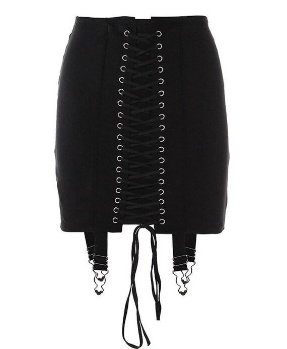 Elegant Lace Asymmetry Corset Lace Tie Up Mini sk… - image 8