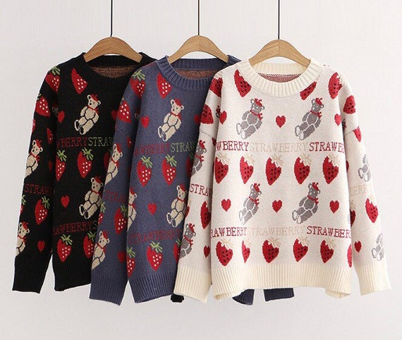 Women Autumn Sweater Cute Cartoon Bear Strawberry