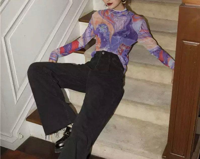Fluid Print Turtle Neck Mesh Top Women Long Sleeve T Shirt Purple Tee Shirt Kawaii