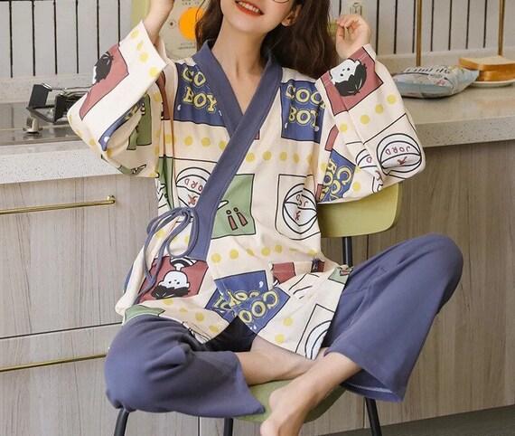 100% Cotton Japanese Kimono Pajama Set for Women … - image 5