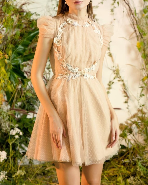 Women Embroidery Lace Mesh Tulle Dress  Sweet Wome