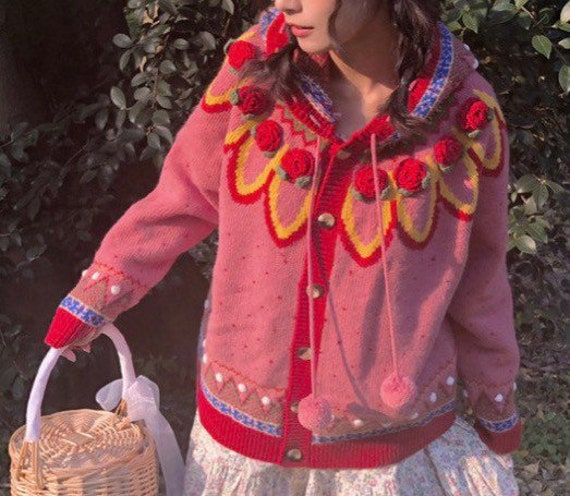 Strawberry Embroidery Knitted Sweater Women Drawst