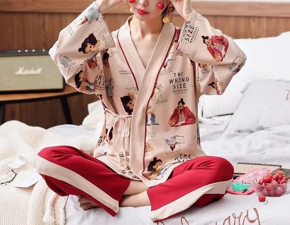 100% Cotton Japanese Kimono Pajama Set for Women … - image 1