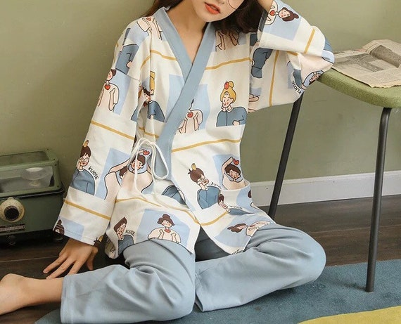 100% Cotton Japanese Kimono Pajama Set for Women … - image 3