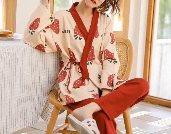 100% Cotton Japanese Kimono Pajama Set for Women … - image 6