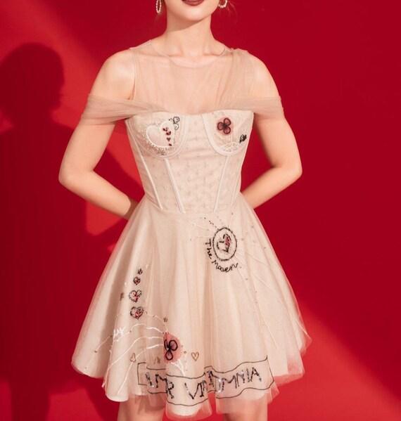 Women Embroidery Mesh Tulle Dress  Sweet Women Seq