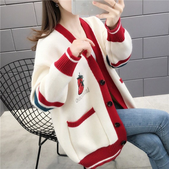 Embroidered Strawberry Cardigan Sweater Women Loos