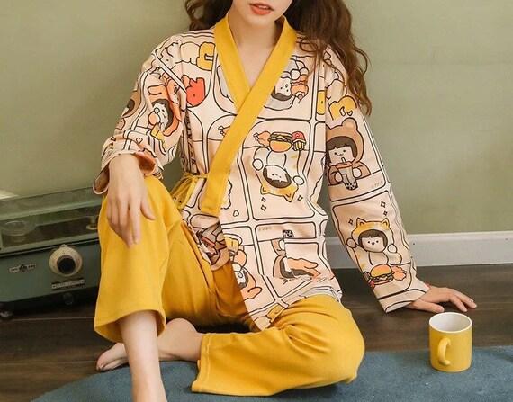 100% Cotton Japanese Kimono Pajama Set for Women … - image 8