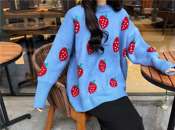 Women Strawberry Carrot Peach Oversized Sweater Pu
