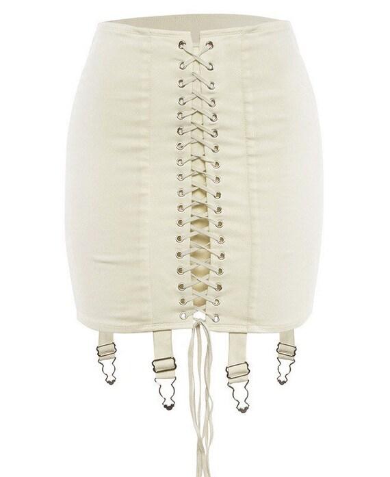 Elegant Lace Asymmetry Corset Lace Tie Up Mini sk… - image 7