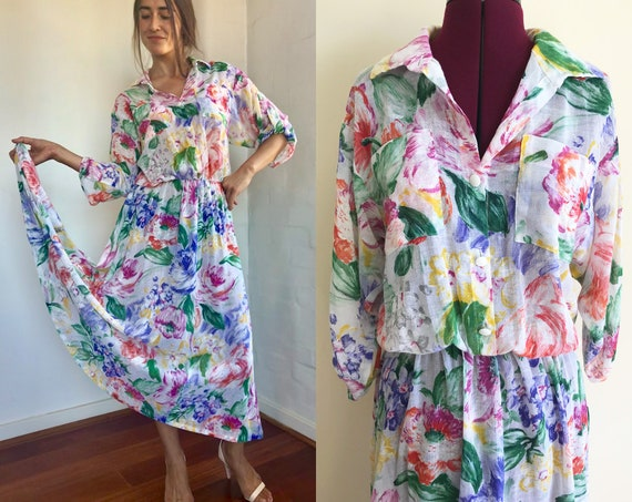 Vintage Gauze Floral Shirt Dress 70's