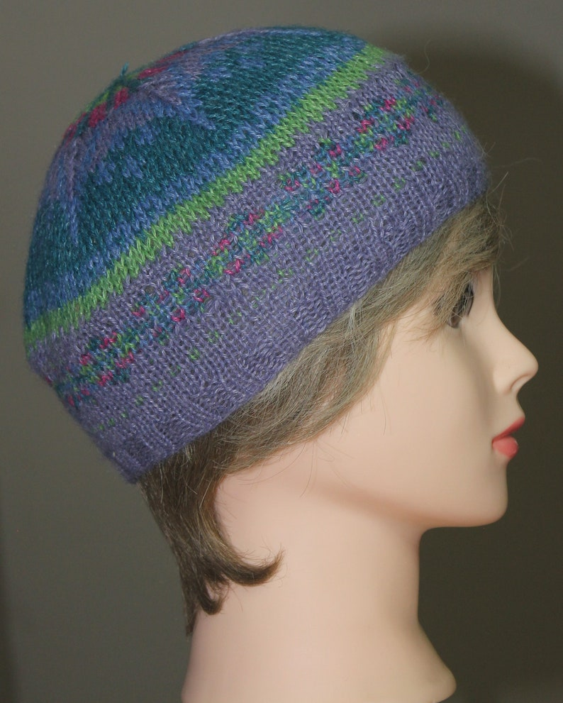 Knitted alpaca and rayon faire isle tam beret
