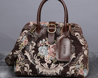 9cb09ba39bd0 Personalized Victorian Carpet Bag Mary Poppins Vintage Leather Purse  Handmade Hand Bag Bridesmaid Gift for Her Floral Coffee Color