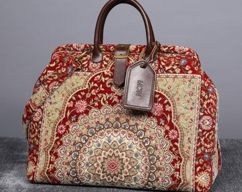 32dac68b745 Personalized Victorian Carpet Bag Mary Poppins Vintage Leather weekender  Handmade Travel Duffel Bridesmaid Gift for Her Oriental Wine Color