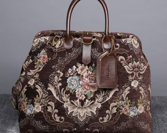 15ff9df34bd Personalized Victorian Carpet Bag Mary Poppins Vintage Leather weekender  Handmade Travel Bag Bridesmaid Gift for Her Floral Coffee Color