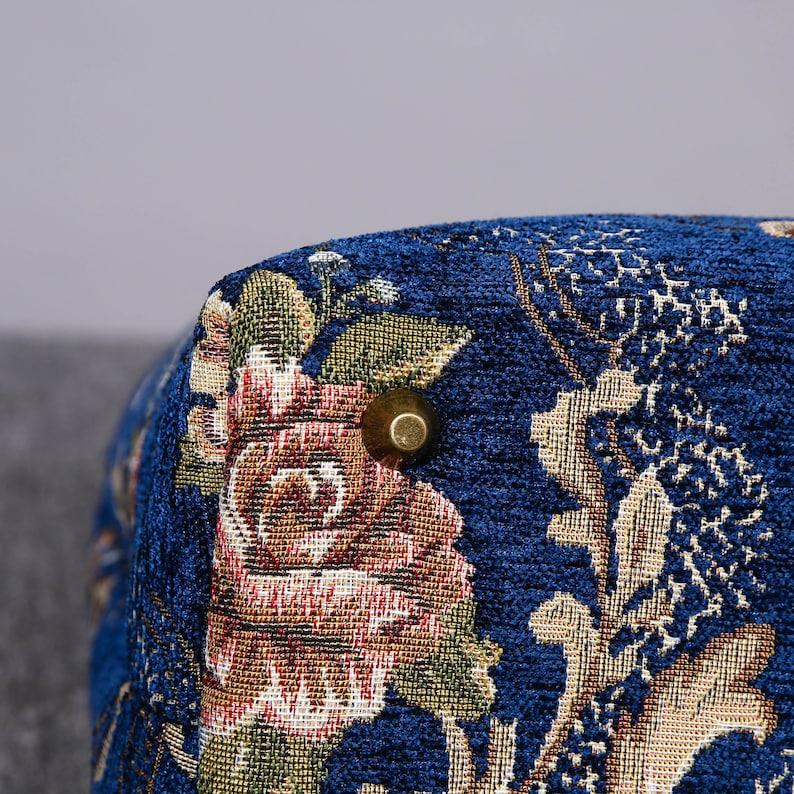 Multi-Functional Carpet Laptop Backpack Victorian Shoulder Bag Vintage Leather Handbag Work Bag Floral Blue Color