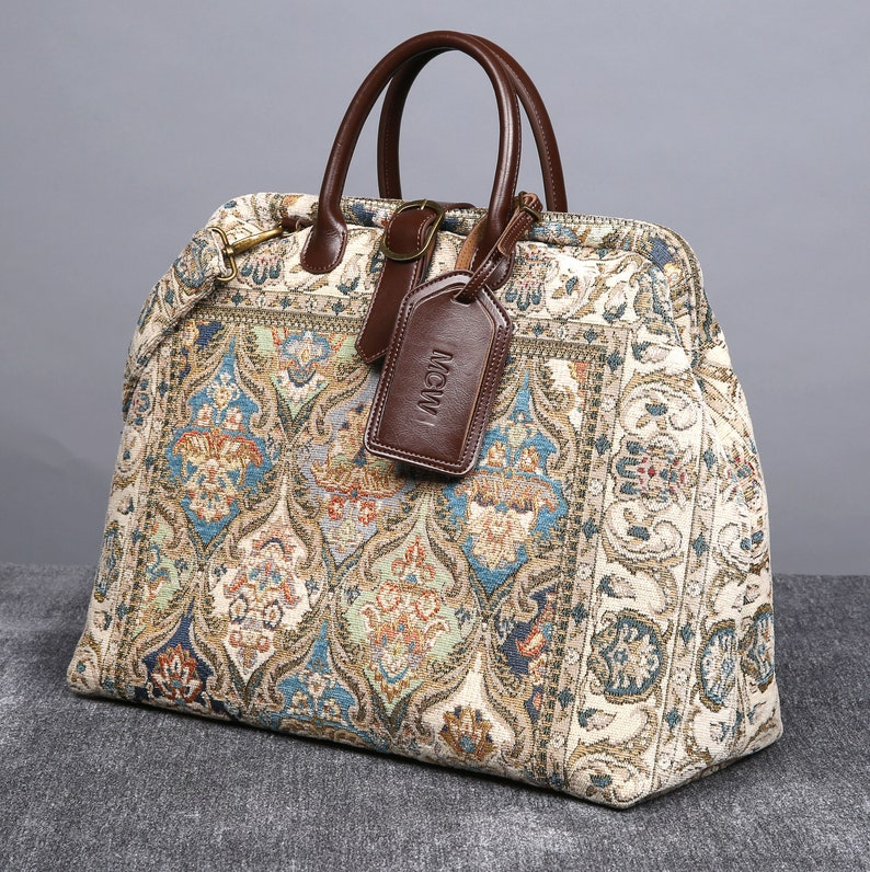 Personalized Victorian Carpet Bag Vintage Leather Handmade Everyday Compact Tote Bridesmaid Gift for Her Golden Age Blue Color