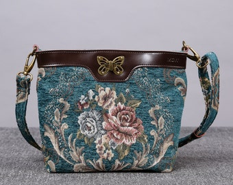 Personalized Vintage Carpet Cross body Leather Purse Shoulder Bag Handmade Bridesmaid Gift for Her Floral Teal Color