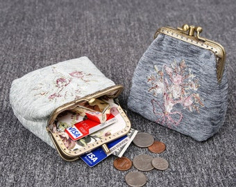 Vintage Handsewn Carpet Coin Purse Victorian Style Double Kiss Lock Card Pouch Ball Snap Clasp Bag Bridesmaid gift for her Bouquet Pattern