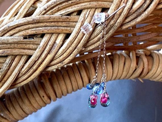 gemstone necklace briolette teardrop blue sapphire gems layer sterling silver