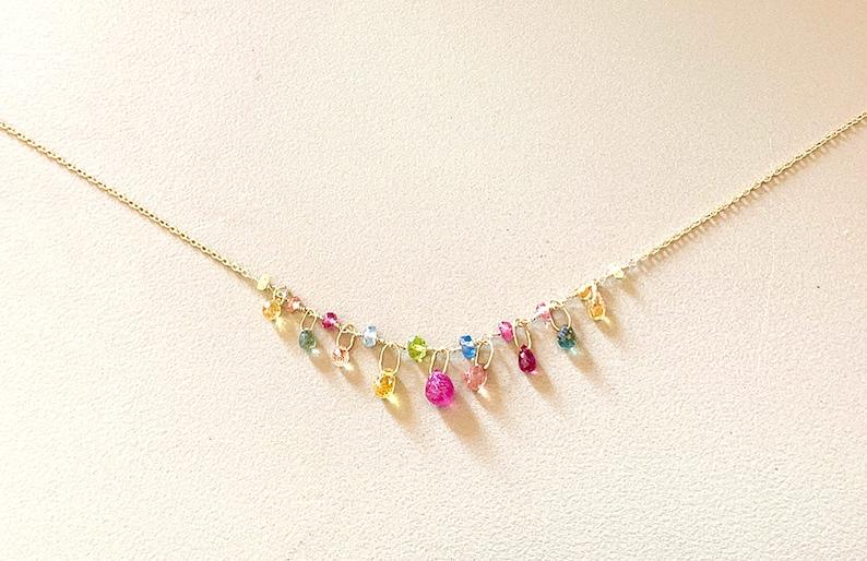 "blue sapphire necklace briolette /& teardrop charm 16/"" wire wrap layer 18k gold"