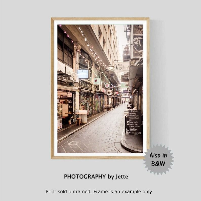 Melbourne Laneway Photography Print Centre Place Black and White Cafe Wall Art Australian Photography
