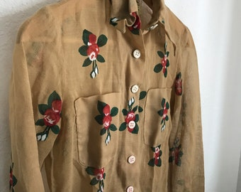 floral vintage sheeting blouse vintage fabric Size 18-Ladies dolman style top flowers black floral