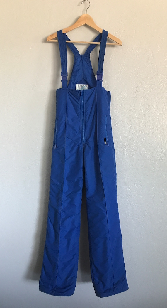 Vintage Rainbow West blue ski bibs medium - image 2